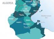 Схематическая карта Туниса